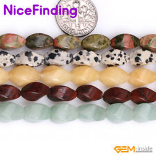 """6x12mm Natural Twist Olivary Stone Beads For Jewelry Making 15"""" Assorted Stone"""