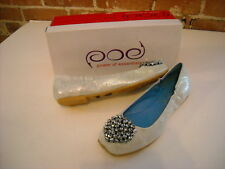 POE Power of Essentials Carin Blue Iridescent Leather Beaded Ballet Flat NEW