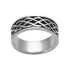 Silverly .925 Sterling Silver Unisex Oxidised Celtic Infinity Knot Straight Ring