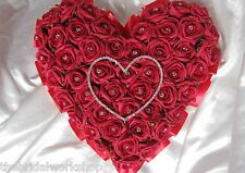 """Funeral Flowers Diamante Rose Heart Oasis 12 """"Grave Cemetary Tribute Floral"""