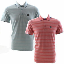 Duck and Cover Phase 2 Stripe Polo Shirt Poppy Red Size Medium RRP £35 Now £20