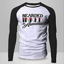 New Mens BEARDED INKED & AWESOME Funny Beard Tattoo BASEBALL Raglan T-shirt Tee
