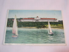 Grand Hotel Mackinac Island Mich with Sailboats Antque 1910 Postcard  T*