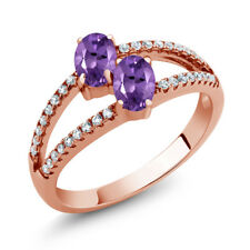 1.11 Ct Oval Purple Amethyst Two Stone 18K Rose Gold Plated Silver Ring