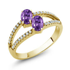 1.11 Ct Oval Purple Amethyst Two Stone 18K Yellow Gold Plated Silver Ring
