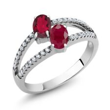 1.51 Ct Oval Red Mystic Topaz Red Ruby Two Stone 925 Sterling Silver Ring