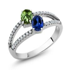 1.41 Ct Green Tourmaline Simulated Sapphire Two Stone 925 Sterling Silver Ring