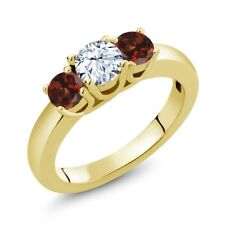 1.49 Ct Round White Zirconia Red Garnet 18K Yellow Gold Plated Silver Ring