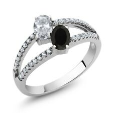 1.30 Ct Oval White Topaz Black Onyx Two Stone 925 Sterling Silver Ring