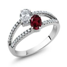1.41 Ct Oval White Topaz Red Rhodolite Garnet Two Stone 925 Sterling Silver Ring