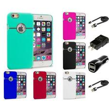 For Apple iPhone 6S (4.7) Hard Deluxe Chrome Rear Slim Case Cover 2X Chargers