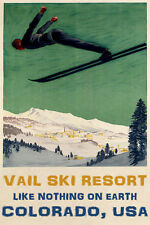 MAN DOWNHILL SKIING SKI JUMPING VAIL COLORADO WINTER SPORT VINTAGE POSTER REPRO