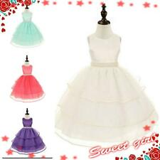 Kids O White Christening Communion Wedding Flower Girls Party Dresses SIZE 3-12Y