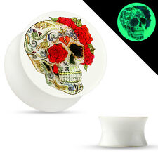 Pair Glow in the Dark Double Flared Acrylic Saddle Ear Plugs Sugar Skull Rose