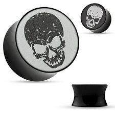 Pair Double Flared Black Acrylic Saddle Ear Plugs 3-D Holographic Skull Print