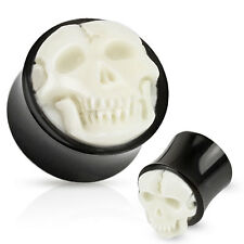 Pair of Bone Skull Hand Carved Inlay with Organic Horn Saddle Ear Plugs