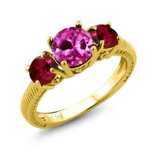 2.86 Ct Pink Created Sapphire & Created Ruby 18K Yellow Gold Plated Silver Ring