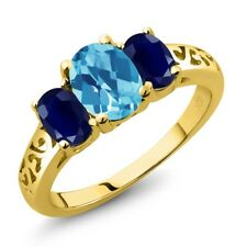 2.40 Ct Oval Swiss Blue Topaz and Sapphire 18K Yellow Gold Plated Silver Ring
