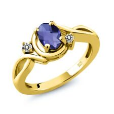 0.72 Ct Checkerboard Iolite & White Diamond 18K Yellow Gold Plated Silver Ring