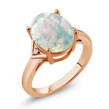 4.02 Ct Cabochon Opal & White Created Sapphire 18K Rose Gold Plated Silver Ring