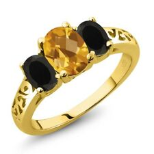 2.03 Ct Oval Checkerboard Citrine Black Onyx 18K Yellow Gold Plated Silver Ring
