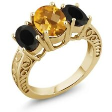 2.90 Ct Oval Checkerboard Citrine Black Onyx 18K Yellow Gold Plated Silver Ring