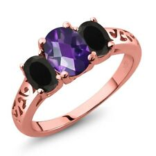 1.78 Ct Oval Checkerboard Amethyst Black Onyx 18K Rose Gold Plated Silver Ring