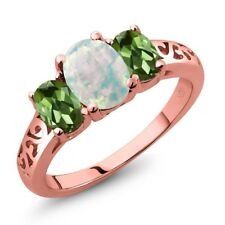 2.05 Ct Cabochon White Opal Green Tourmaline 18K Rose Gold Plated Silver Ring