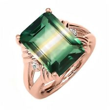 7.75 Ct Created Quartz White Sapphire 18K Rose Gold Plated Silver Ring