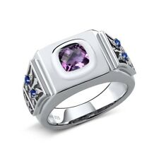 1.76 Ct Cushion Checkerboard Amethyst Simulated Sapphire 925 Silver Men's Ring