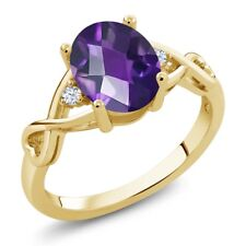 1.55 Ct Oval Checkerboard Amethyst and Topaz 18K Yellow Gold Plated Silver Ring