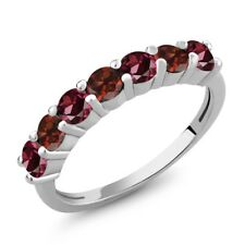 1.48 Ct Round Red Rhodolite Garnet Red Garnet 925 Sterling Silver Ring