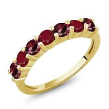 1.54 Ct Round Red Rhodolite Garnet Red Ruby 18K Yellow Gold Plated Silver Ring