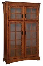 """Amish Handcrafted Mission Arts & Crafts Bookcase Solid Wood Glass Door 46"""" x 72"""""""
