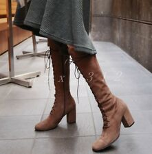 Koreans Womens Suede Bandage Square Toe Knee High Boots Stylish High Heel Shoes