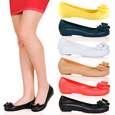 WOMENS SHOES LADIES FLATS JELLY BOW PEEPTOES SUMMER SANDALS NEW SIZE BALLERINAS