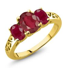 2.70 Ct Oval African Red Ruby Red Ruby 18K Yellow Gold Ring