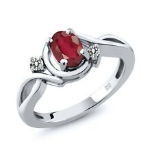 1.07 Ct Oval African Red Ruby White Diamond 925 Sterling Silver Ring