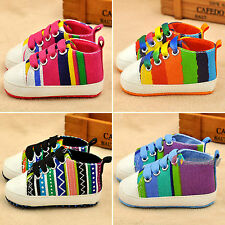 Infant Toddler Baby Kids Soft Trainer Rainbow Crib Shoes Boy Girl Sneaker Flat