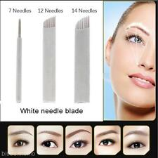 Permanent Microblading Eyebrow Tattoo Curved Blade 7/12/14 Needles Make Up Tool