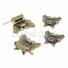 6Pcs Antique Brass Jewelry Box Case Hasp Latch Butterfly Toggle Lock Useful Tool