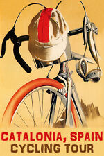 BICYCLE CATALONIA SPAIN CYCLING TOUR BIKE RIDE VINTAGE POSTER REPRO