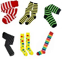 Knee High Socks Red White Stripe Yellow Polka Dots Striped Clown Bee Witch fnt