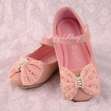 Pearls Bow Velcro Mary Janes Shoes Size UK 8-1 EU 25-32 Flower Girl Party GS016