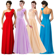 One Shoulder Formal Long Prom Gown Bridesmaid Wedding Evening Masquerade Dress