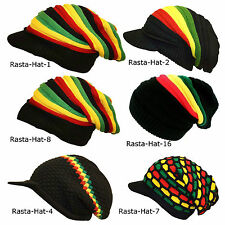 Rasta Hat Oversized Slouch Beanie Style Hat with and Without Peak