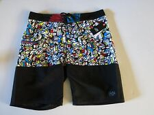 NWT Split Mens 34 Black White Red Blue Yellow Surf  Board Shorts