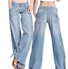 New Womens Sexy Demin Jeans Bell Bottom Wide Leg Loose Thin Pants Trousers Size