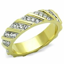 Women's Stainless Steel 316 Crystal Two Toned Ion Plated Wedding Band Ring