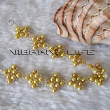 "Cute 8"" 4-5mm Golden Off Round Freshwater Pearl Bracelet C"